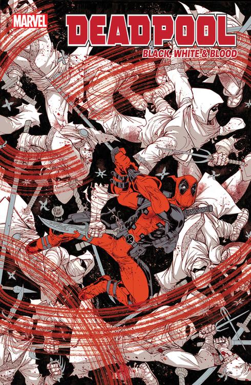 Marvel comics deadpool black white blood 20210526